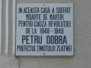 Placa memoriala casa in care a fost asasinat Petre Dobra